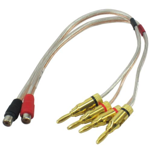 4 Banana Plugs to 2 RCA F  1'